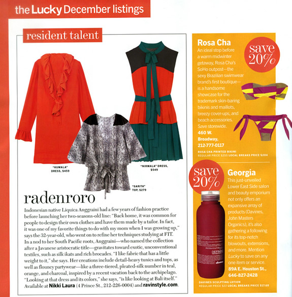 Lucky Magazine (December 2008) - NY Resident Talent Section